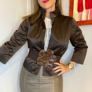 Harve Bernard mandarin style brown shiny blazer S